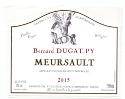 Etiket Etiquette Sticker Zelfklever - Vin - Wijn - Bourgogne - Meursault - Bernard Dugat Py - 2015 - Bourgogne
