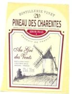 Etiket Etiquette Sticker Zelfklever - Distillerie Vinet - Pineau De Charentes - Au Pré Des Vents - Etiquettes