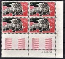 MONACO 1966 -  N° 685 EN BLOC DE 4 TP COIN DE FEUILLE / DATE - NEUFS** - Mónaco