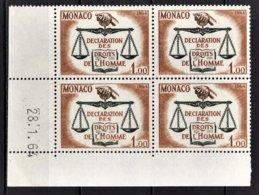 MONACO 1964 BLOC DE 4 TP N° 661 COIN DE FEUILLE / DATE  NEUFS  ** - Mónaco