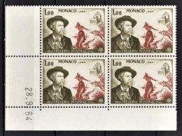 MONACO 1964 BLOC DE 4 TP N° 660 COIN DE FEUILLE / DATE /  NEUFS** - Mónaco