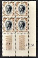 MONACO 1960 - BLOC DE 4 TP COIN DE FEUILLE / DATE / N° 548 - NEUFS ** - Mónaco