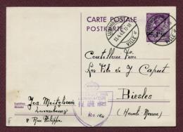 """LUXEMBOURG  : Entier Postal De 1945 + Cachet """" CONTROLE PAR EXAMINATEUR """"   1945 - Stamped Stationery"""