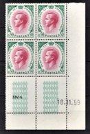 MONACO 1960 - BLOC DE 4 TP COIN DE FEUILLE / DATE / N° 547 - NEUFS ** - Mónaco