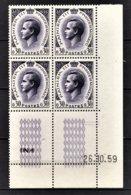 MONACO 1960 - BLOC DE 4 TP COIN DE FEUILLE / DATE / N° 545 - NEUFS ** - Mónaco