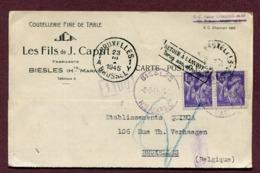 """BIESLES  (52) : LETTRE Pour La BELGIQUE Avec """" RETOUR A L'ENVOYEUR """"  1945 - Marcophilie (Lettres)"""