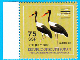 SOUTH SUDAN Surcharge Overprint ERROR Extra Space Between Cancellation Bars OP On 5 SSP Stamp Südsudan Soudan Du Sud - Zuid-Soedan