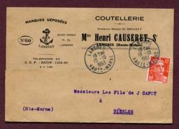 "LANGRES  (52) : "" COUTELLERIE Mme Henri CAUSERET  ""  1953 - Marcophilie (Lettres)"