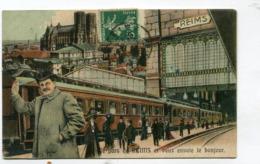 CPA  51 : REIMS  Bonjour Avec Gare  Et Train      A  VOIR  !!!!!!! - Reims
