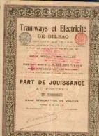 « Tramways Et Electricité De BILBAO SA» - Part De Jouissance (1906) – Siège Social : BRUXELLES - Chemin De Fer & Tramway