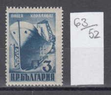 52/63 / 775 Bulgaria 1949 Michel Nr. 727 - SHIP Shipbuilding Schiffbau , National Economy - Barche