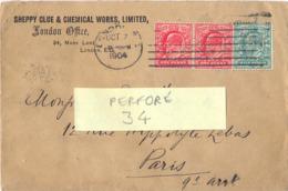 GRANDE-BRETAGNE PERFORÉ PERFIN 34 - SHEPPY CLUE & CKEMICAL WORKS - OMec LONDON OCT 7 1904 - Perforés