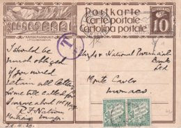 SUISSE 1930    ENTIER POSTAL/GANZSACHE/POSTAL STATIONERY CARTE DE LAUSANNE TAXEE A MONACO - Portomarken
