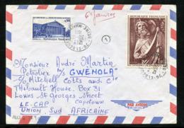 AFFRANCHISSEMENT à 1fr90 AVEC MAURY N°1654 ET 1690 S/LETTRE AVION POUR AFRIQUE DU SUD 30/12/71 DESTINATION RARE - Marcophilie (Lettres)