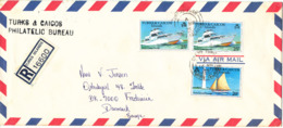 Turks And Caicos Registered Air Mail Cover Sent To Denmark 16-3-1979 Topic Stamps BOATS (green Custom C1 Label On The Ba - Turks And Caicos