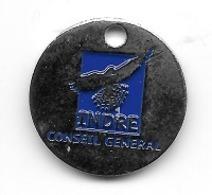 Jeton De Caddie  Département, Conseil  Général  INDRE  Avec  Oiseau  Argent  Verso  Vierge  ( 36 ) - Jetons De Caddies