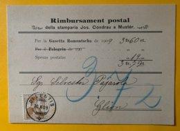 9253 -  Rimbursament Postal Della Stamparia Condrau A Muster Disentis 30.10.1909 Pour Glion Cahet Arrivée Ilanz ? - Covers & Documents