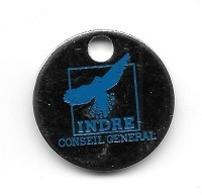 Jeton De Caddie  Département, Conseil  Général  INDRE  Avec  Oiseau  Bleu  Verso  Vierge  ( 36 ) - Jetons De Caddies