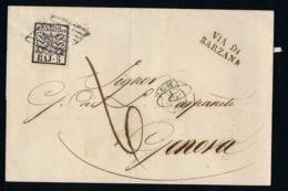 Italy Papel States: Cover Sa 6 Roma - > Genova 1859 Via Di Sarzana - Kerkelijke Staten
