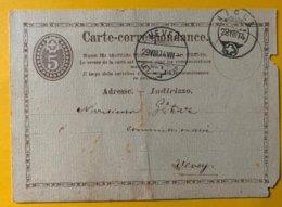 9253 -  Aigle 28.08.1874 Pour Vevey Curiosité Cachet Au Verso  Jules Gétaz Vevey 29.08.1874 Entier Endommagé - Entiers Postaux