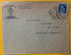 9254 -  Lettre Hôtel Gibbon Lausanne Pour Les Etats-Unis 6.06.1912 - Briefe U. Dokumente