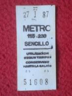 ANTIGUO BILLETE DE TRANSPORTE TICKET METRO SUBWAY UNDERGROUND...SPAIN MADRID ? SENCILLO AÑO 1987 CAJA POSTAL PUBLICIDAD - Transporte