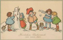 Glückwunsch Neujahr, Kinder Bauen Schneemann, Postkarte, Feiern & Feste > Neujahr - Neujahr
