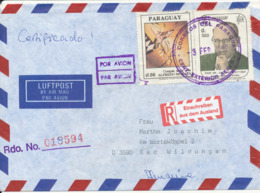 Paraguay Registered Air Mail Cover Sent To Germany 3-2-1992 - Paraguay