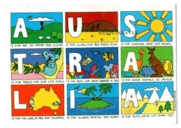 POSTAL POST CARD AUSTRALIA AUSTRALIE IS FOR...AIR ULURU SUNSHINE TREES KOALA REEF AUSSIE ANIMALS LAND ISLANDS ALPS...... - Australia