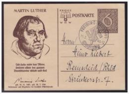 Dt- Reich (004960) Ganzsache WHW 1939, Martin Luther, P285/ 02, Mit SST Freiburg Am 24.2.1940 Opfertag - Enteros Postales