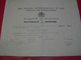 Diploma Rijks Hoogere Nijverheidsschool Gent - Meestergast Spinkunde Ingelrelst Marcel - 26 Juni 1943 - Diplômes & Bulletins Scolaires