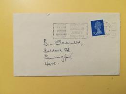 1972 BUSTA GRAN BRETAGNA GREAT BRITAIN BOLLO QUEEN ELISABETH ELISABETTA ANNULLO WATFORD OBLITERE' ETICHETTA - 1952-.... (Elisabetta II)