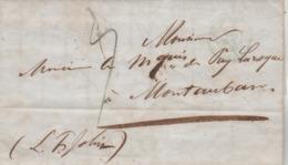 LAC PARIS Cachet Bleu 3/6/1845 Taxe Manuscrite à Marquis De Puylaroque Montauban Tarn Et Garonne Cachet Fleuron - 1801-1848: Precursors XIX