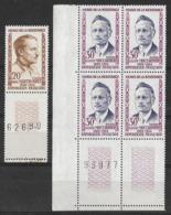 France 1959 - Héros De La Résistance -  1X1 Y&T N°1201 + Bloc De 4 Y&T N°1202 ** Neufs Luxe 1er Choix (gomme Intacte) - France