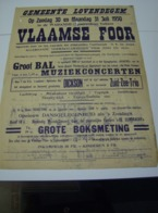 Affiche Poster - Vlaamse Foor Lovendegem - 30 Juli 1950 - Affiches