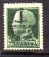 ITALIA REGNO ITALY KINGDOM RSI 1944 IMPERIALE DEL 1929 SOPRASTAMPATO REPUBBLICA SOCIALE ITALIANA CENT 25c  USATO USED - Afgestempeld