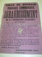 Affiche Poster - Ville De Roubaix - Travaux Communaux Agrandissement - 1875 - Affiches