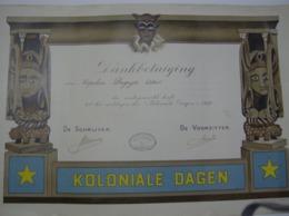 Affiche Poster Diploma - Albert Degryse - Koloniale Dagen 1932 - La Coloniale Du Littoral Ostende - Oostende - Diplômes & Bulletins Scolaires