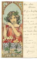 ART NOUVEAU Illustrateur Style MUCHA Jeune Fille à La Flûte Carte Sympa 1904 CPA 2 SCANS - Illustrators & Photographers