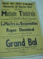 Affiche Poster - Salle Des Fetes D'Hasnon - Matinée Théatrale 1957 - Affiches
