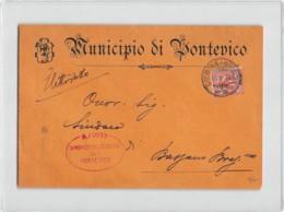 12159 MUNICIPIO DI PONTEVICO X BASSANO BRESCIANO - TIMBRO AMBULANTE CREMONA BRESCIA E VEROLA NUOVA BRESCIA - Marcofilie