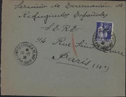 Guerre D'Espagne YT FM 10 CAD Camp St Cyprien Plage 66 14 11 39 Pour SERE S.E.R.E. Service éducation Réfugiés Espagnols - Marcophilie (Lettres)