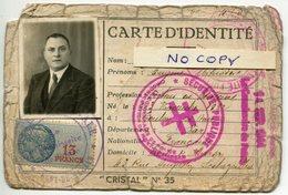 CARTE D'IDENTITE MEDECIN 1944 CACHET FRANCE LIBRE MONT DE MARSAN TIMBRES FISCAUX MILITARIA CROIX LORRAINE LANDES - Documentos Históricos