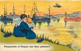 Illustrateur Nozais, Pomponnette Et Pompon Sont Deux Polissons, Couple De Marins Qui S'embrassent - Autres Illustrateurs