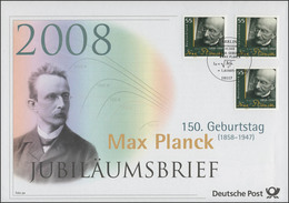 2658 Physiker Und Nobelpreisträger Max Planck 2008 - Jubiläumsbrief - [7] Federal Republic