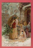 """Carte Gaufrée  """" JOYEUX NOEL ! """"  Père Noël Avec Sa Hotte Et Sapin - Ange L'accompagnant. - Santa Claus"""
