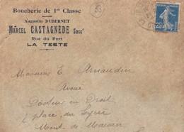 """33 - GIRONDE - LA TESTE  ENTETE """"BOUCHERIE DE 1ERE CLASSE/MARCEL CASTAGNEDE"""" - Marcophilie (Lettres)"""