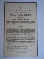 Doodsprentje Willem Mathijs Geurts Smeermaas 1895 Maastricht 1944 Echtg Maria Catharina Winten - Santini