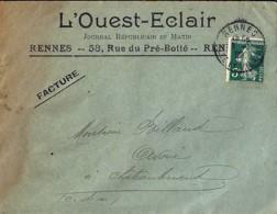"""35 - ILLE ET VILAINE - RENNES  TàD DE TYPE A4 / 1908 + ENTETE """"L'OUEST ECLAIR"""" - Marcofilie (Brieven)"""