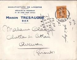 40 - LANDES - DAX  TàD DE TYPE A4 / 1923 + ENTETE - Poststempel (Briefe)